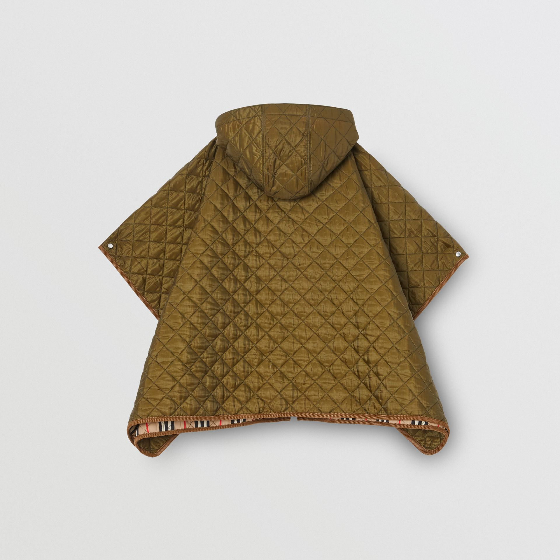 Corduroy Trim Diamond Quilted Hooded Poncho in Military Olive | Burberry - gallery image 3