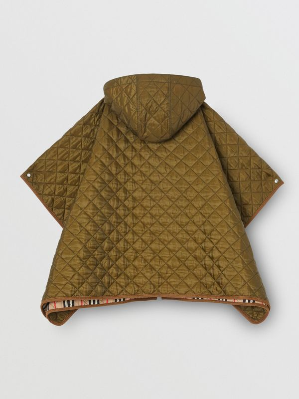 Corduroy Trim Diamond Quilted Hooded Poncho in Military Olive | Burberry - cell image 3