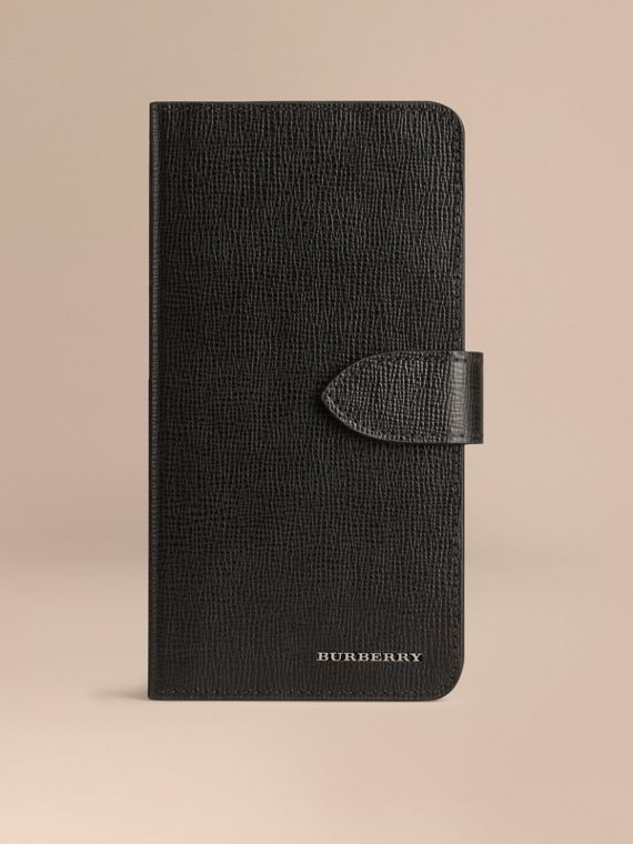 London Leather iPhone 6 Plus Flip Case Black