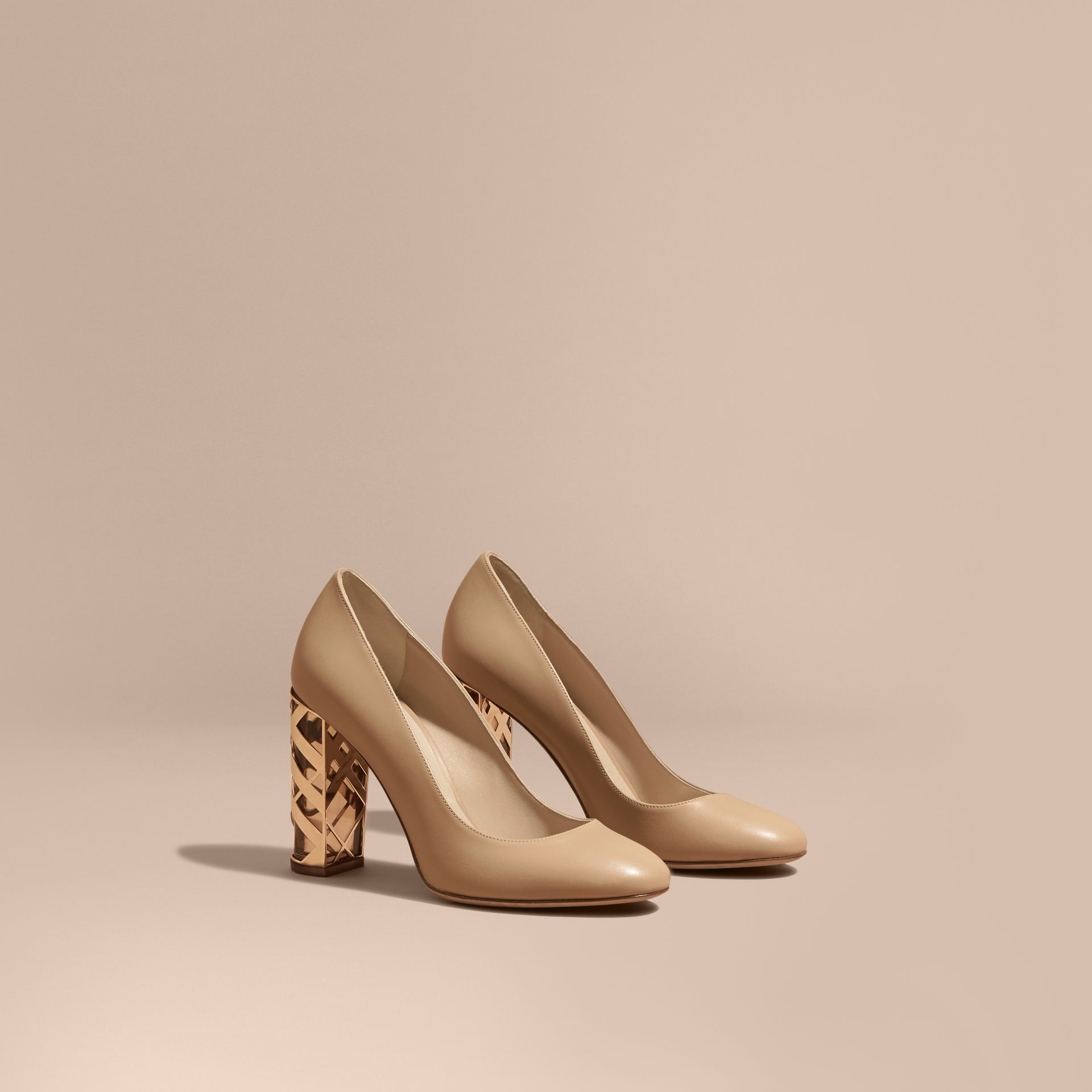 Light nude Check Heel Leather Pumps Light Nude - gallery image 1