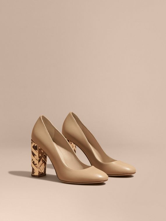 Check Heel Leather Pumps Light Nude