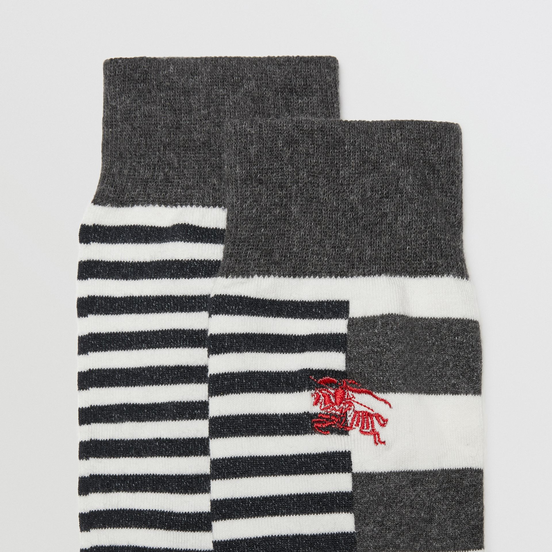 Contrast Stripe Cotton Blend Socks in White/charcoal | Burberry - gallery image 1