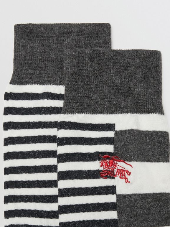 Contrast Stripe Cotton Blend Socks in White/charcoal | Burberry - cell image 1