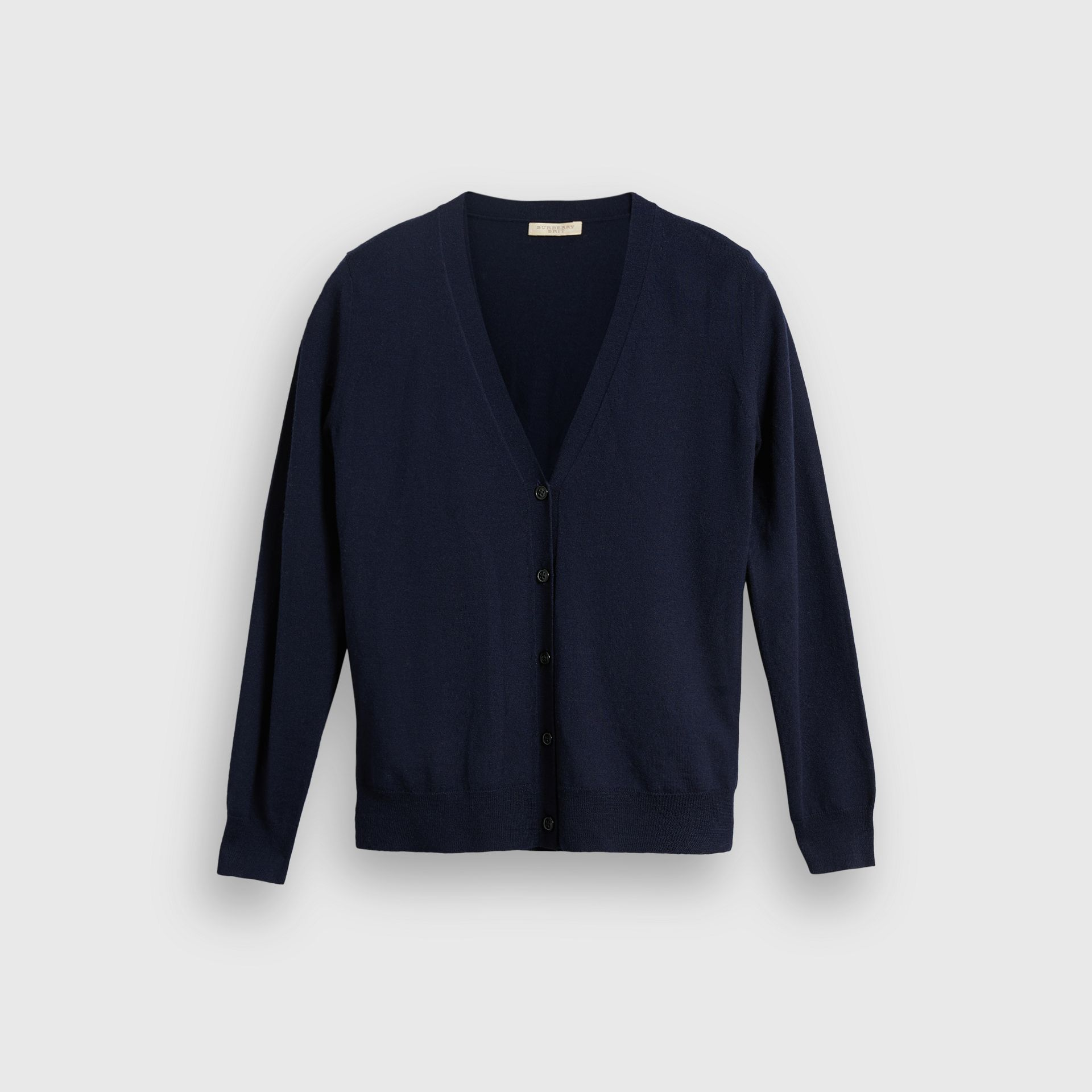 Check Detail Merino Wool Cardigan in Navy - Women | Burberry - gallery image 3