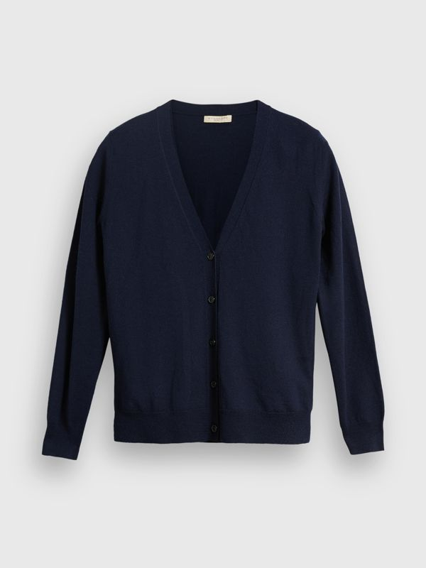 Check Detail Merino Wool Cardigan in Navy - Women | Burberry Australia - cell image 3