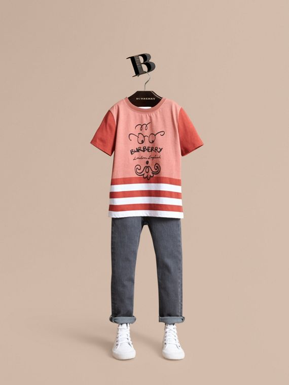 Bearded Gent Print Striped Cotton T-shirt in Pale Cinnamon