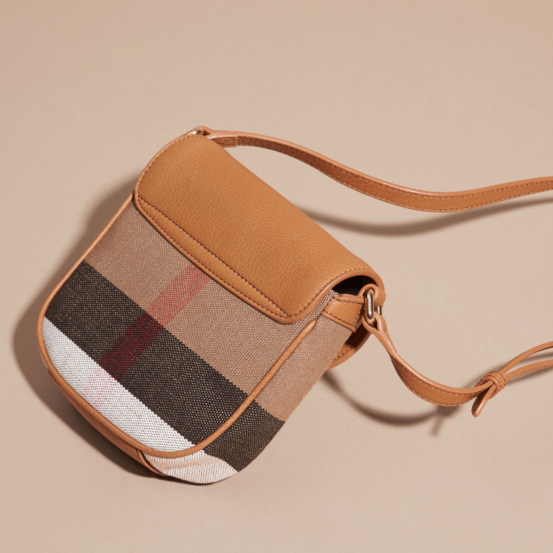 Sand Canvas Check Leather Crossbody Bag - gallery image 4
