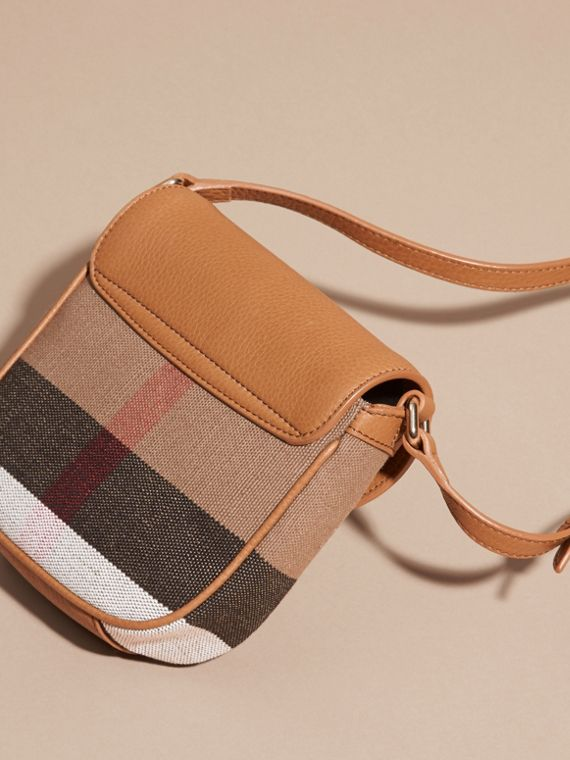 Sand Canvas Check Leather Crossbody Bag - cell image 3