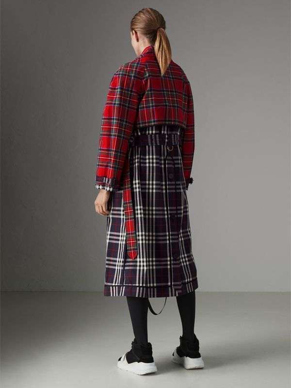 Check and Tartan Cotton Trench Coat in Navy - Women | Burberry - cell image 2