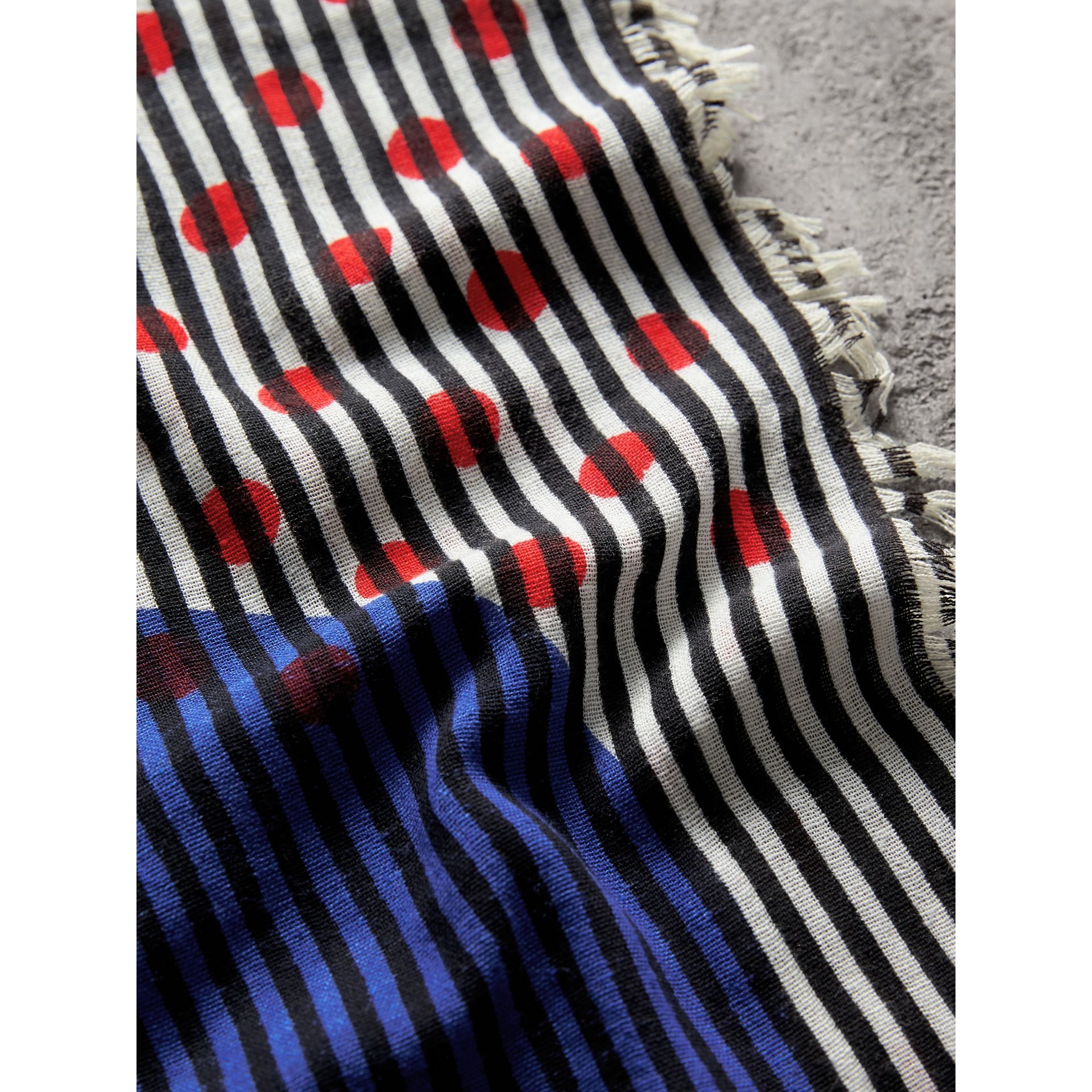 Graphic Spot and Stripe Print Silk Cotton Scarf in Bright Navy | Burberry Australia - gallery image 1