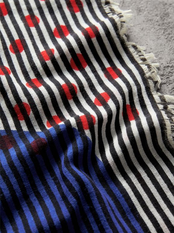 Graphic Spot and Stripe Print Silk Cotton Scarf in Bright Navy | Burberry Australia - cell image 1