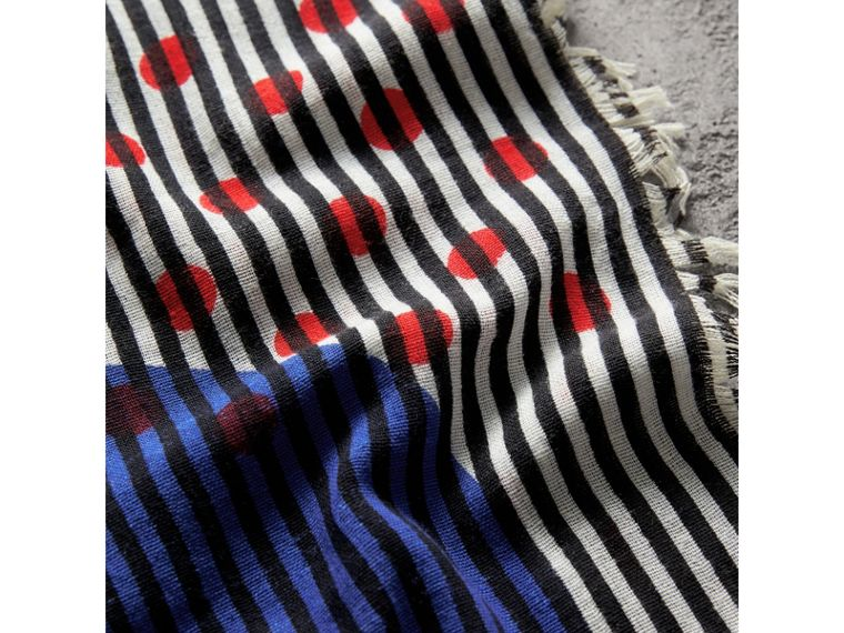 Graphic Spot and Stripe Print Silk Cotton Scarf in Bright Navy | Burberry - cell image 1