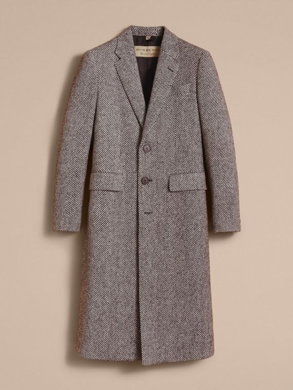 Donegal Herringbone Wool Topcoat in Black - Men | Burberry - cell image 3
