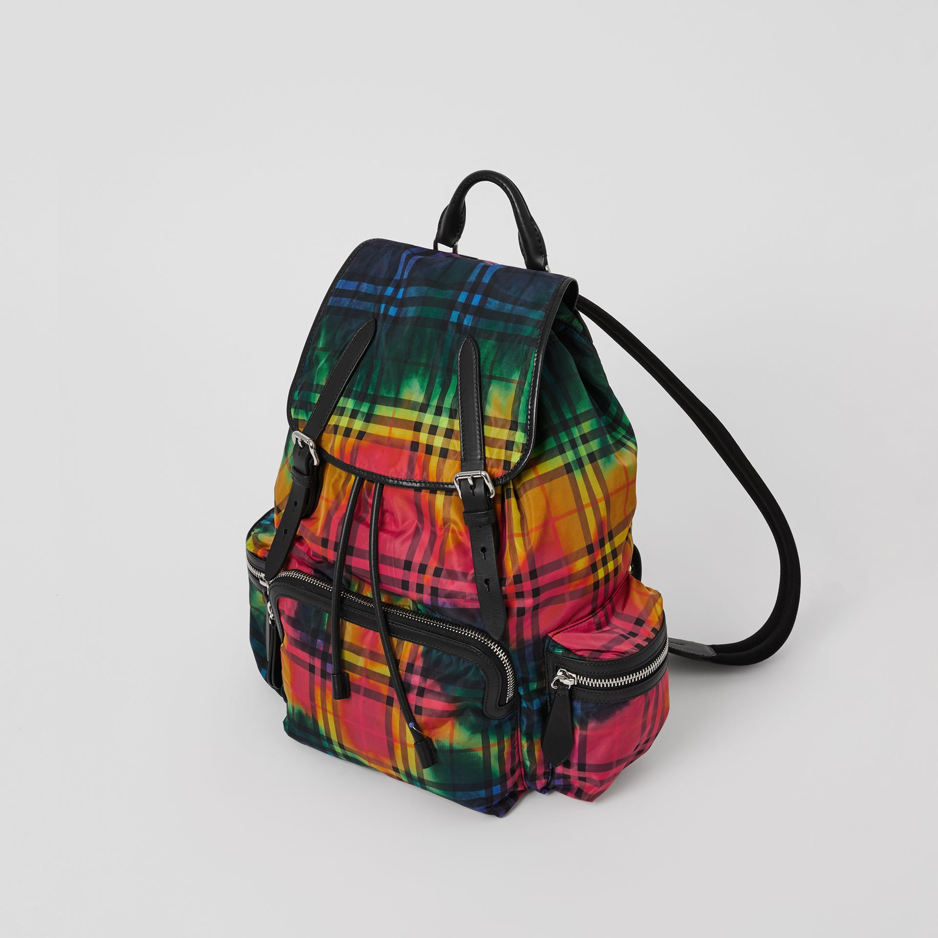 The Large Rucksack in Tie-dye Vintage Check in Multicolour | Burberry Singapore - gallery image 4
