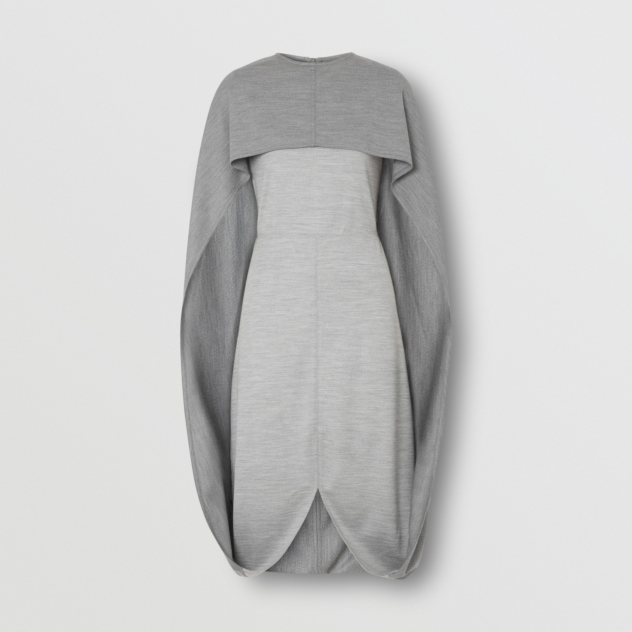 Cape Detail Technical Wool Jersey Shift Dress in Cloud Grey - Women | Burberry - 4