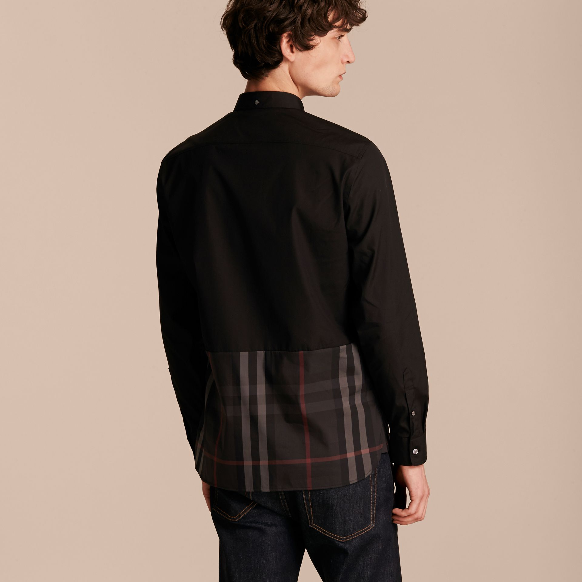 Black Check Panel Stretch-Cotton Poplin Shirt Black - gallery image 3