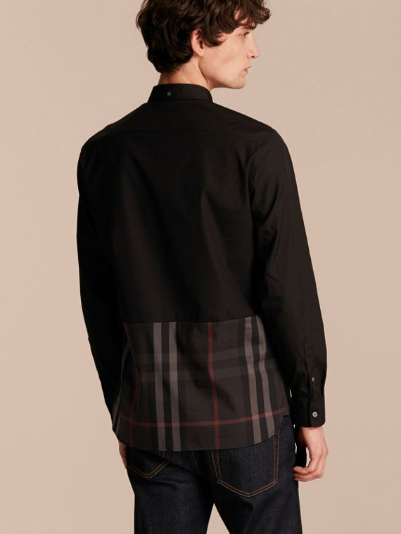 Check Panel Stretch-Cotton Poplin Shirt in Black - cell image 2