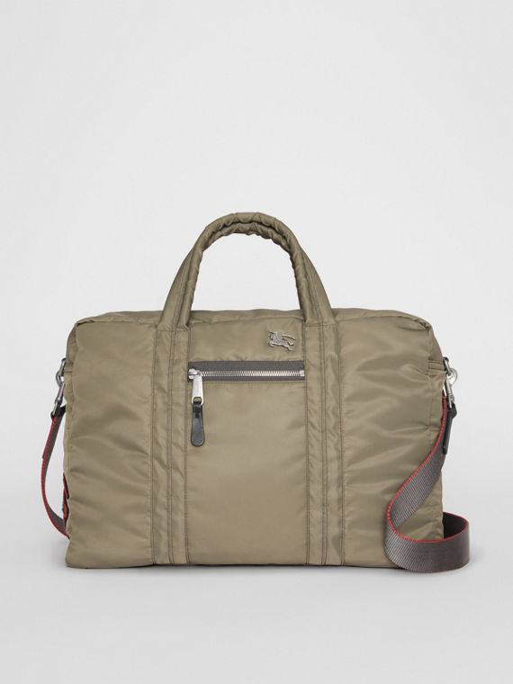 EKD Aviator Nylon and Leather Briefcase in Celadon