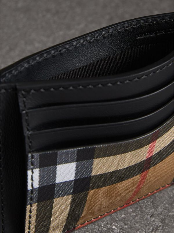 Vintage Check and Leather Money Clip Card Case in Black - Men | Burberry - cell image 3