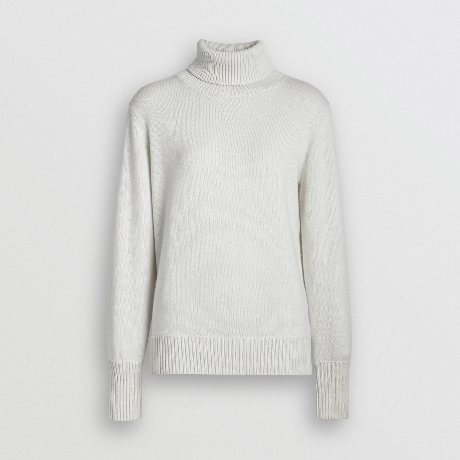 Embroidered Crest Cashmere Roll-neck Sweater in White - Women | Burberry United Kingdom - gallery image 3