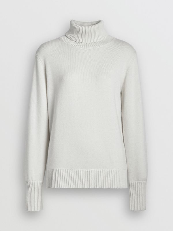 Embroidered Crest Cashmere Roll-neck Sweater in White - Women | Burberry United States - cell image 3