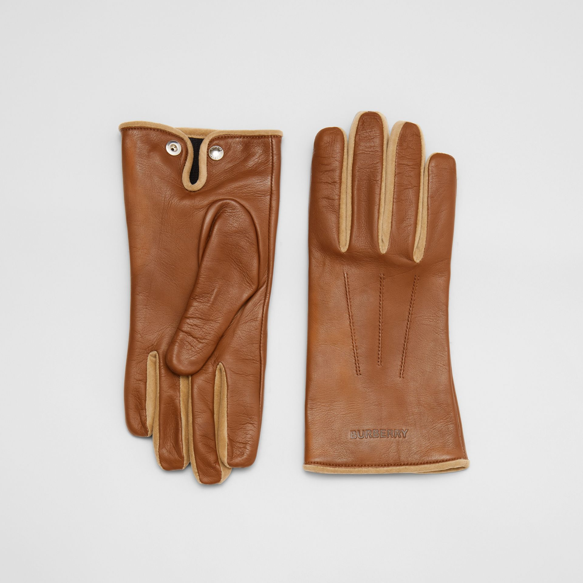 Embossed Logo Cashmere-lined Lambskin Gloves in Brown - Men | Burberry - gallery image 0