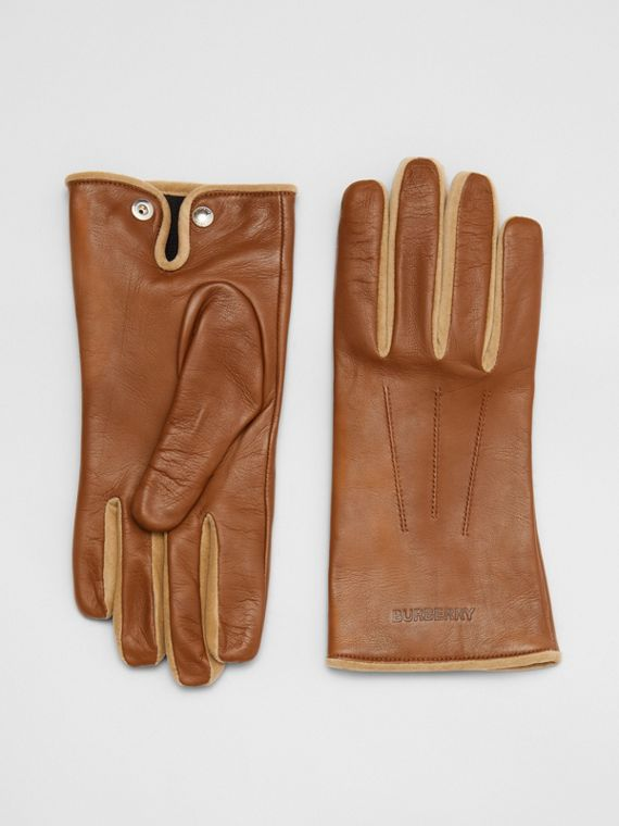 Embossed Logo Cashmere-lined Lambskin Gloves in Brown