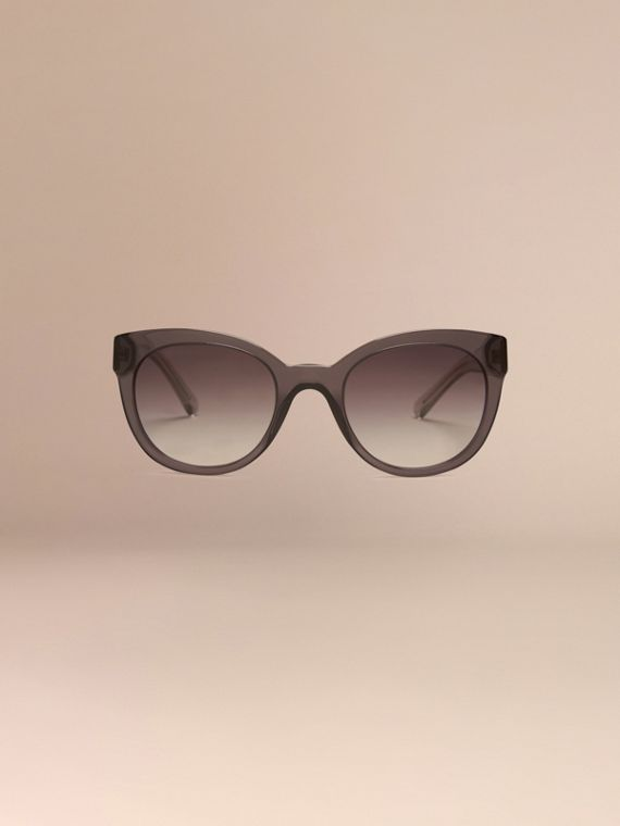 Dark grey Check Detail Oval Sunglasses Dark Grey - cell image 2