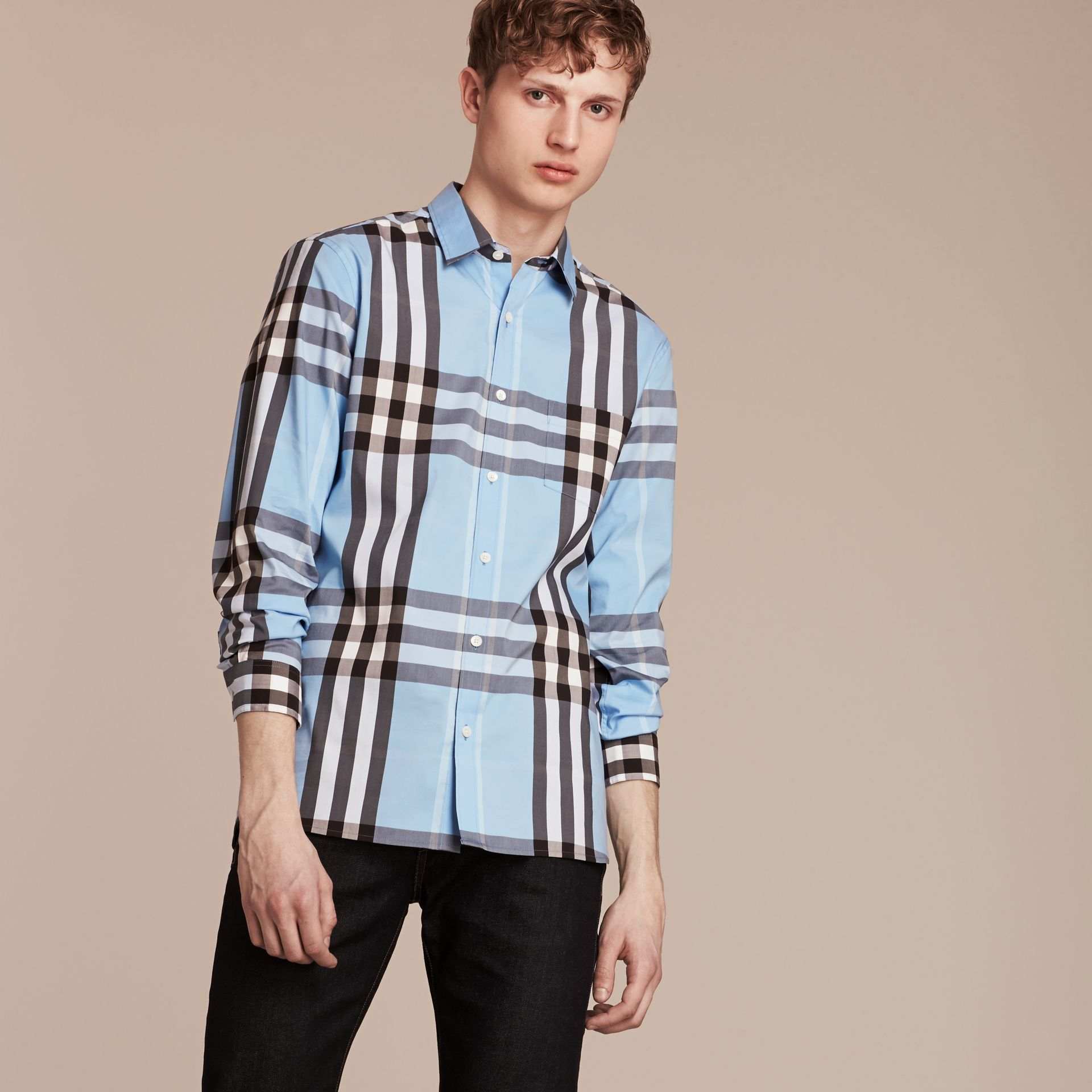 Light blue Check Stretch Cotton Shirt Light Blue - gallery image 4