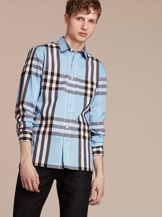 Blu chiaro Camicia in cotone stretch con motivo check Blu Chiaro - cell image 3