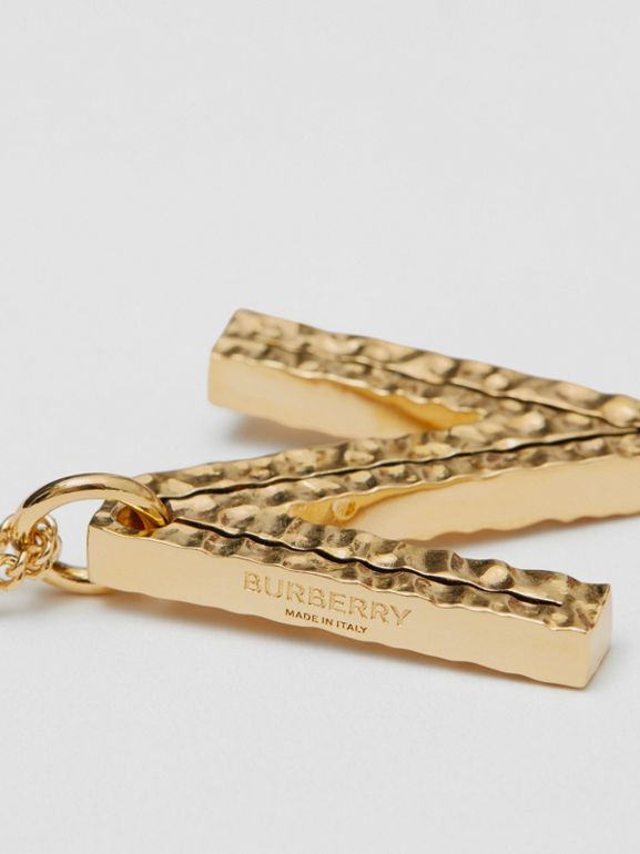 'N' Alphabet Charm Gold-plated Necklace in Light - Women | Burberry United Kingdom - cell image 1