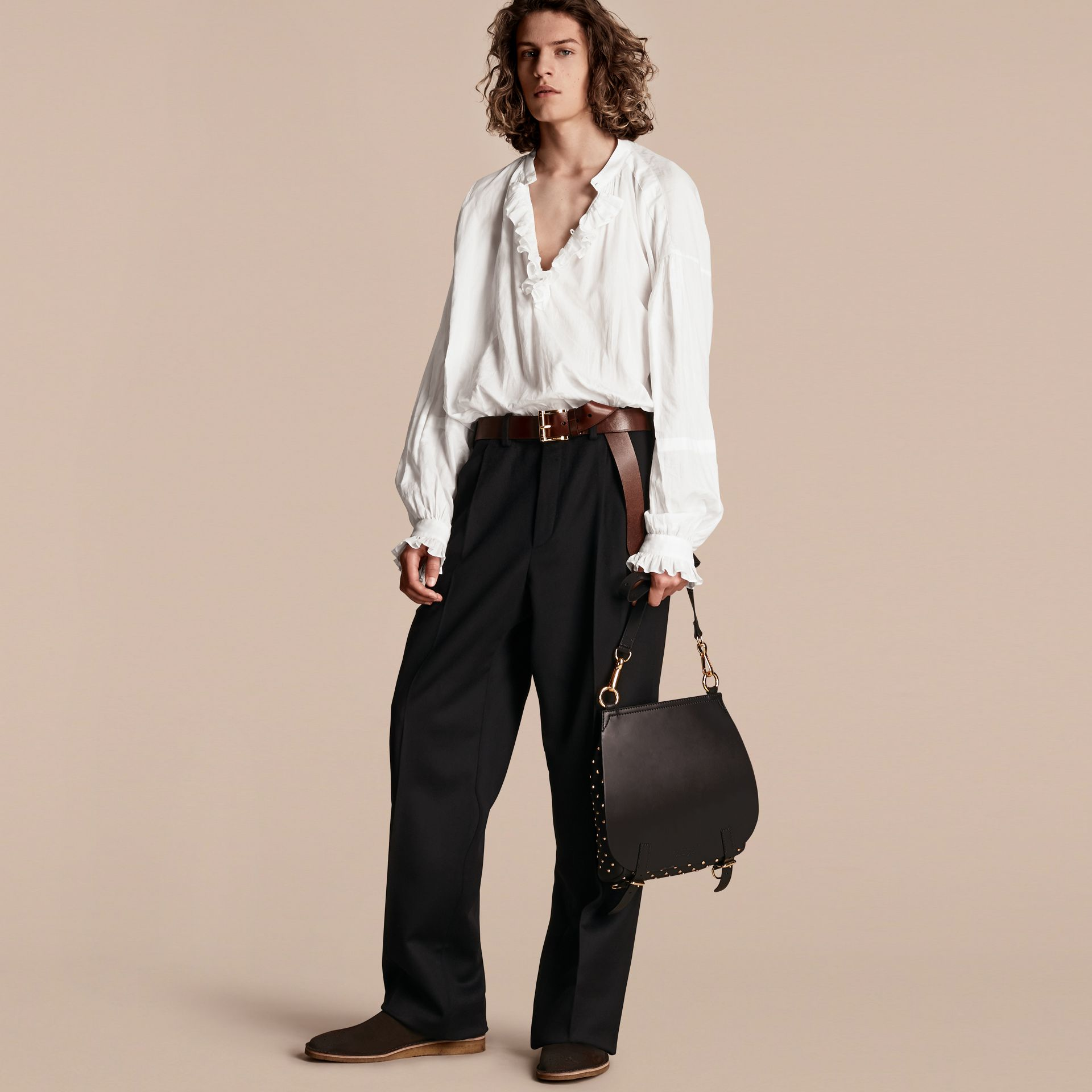 Wide-leg English Moleskin Wool Trousers - gallery image 6