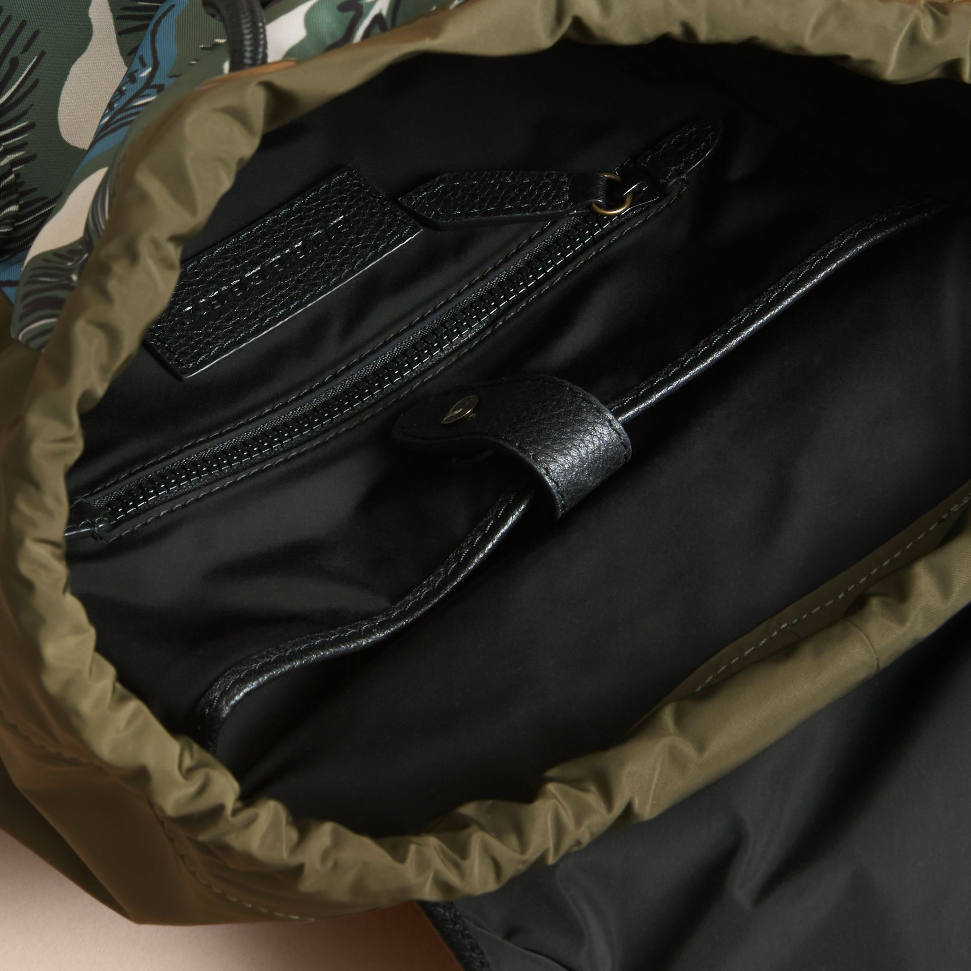 Leather Trim Lightweight Backpack in Sage Green | Burberry Australia - gallery image 4