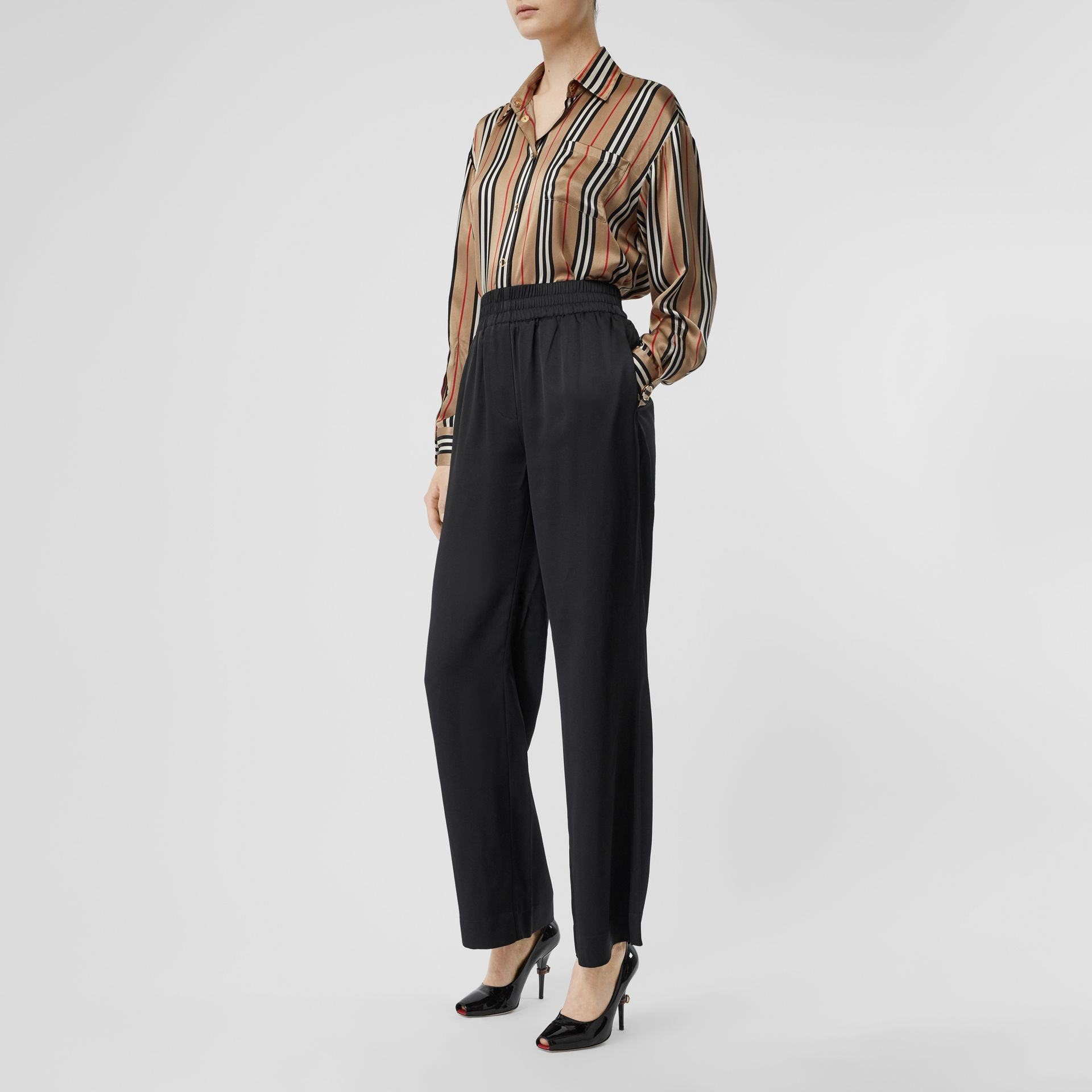 Silk Satin Trousers in Black - Women | Burberry United States - gallery image 4