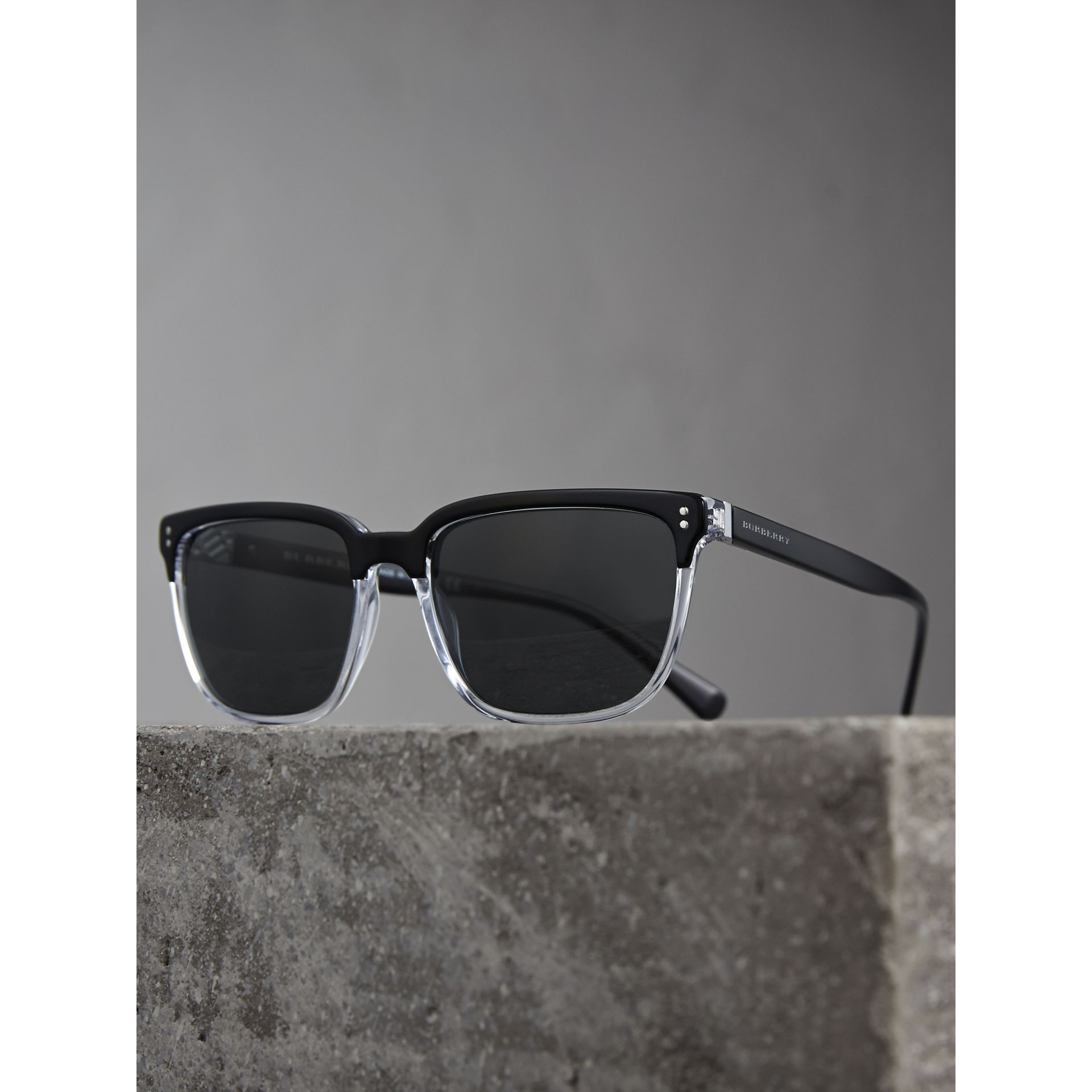 Square Frame Sunglasses in Black - Men | Burberry United Kingdom - gallery image 2