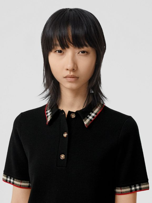 Check Trim Merino Wool Blend Polo Shirt in Black - Women | Burberry - cell image 1