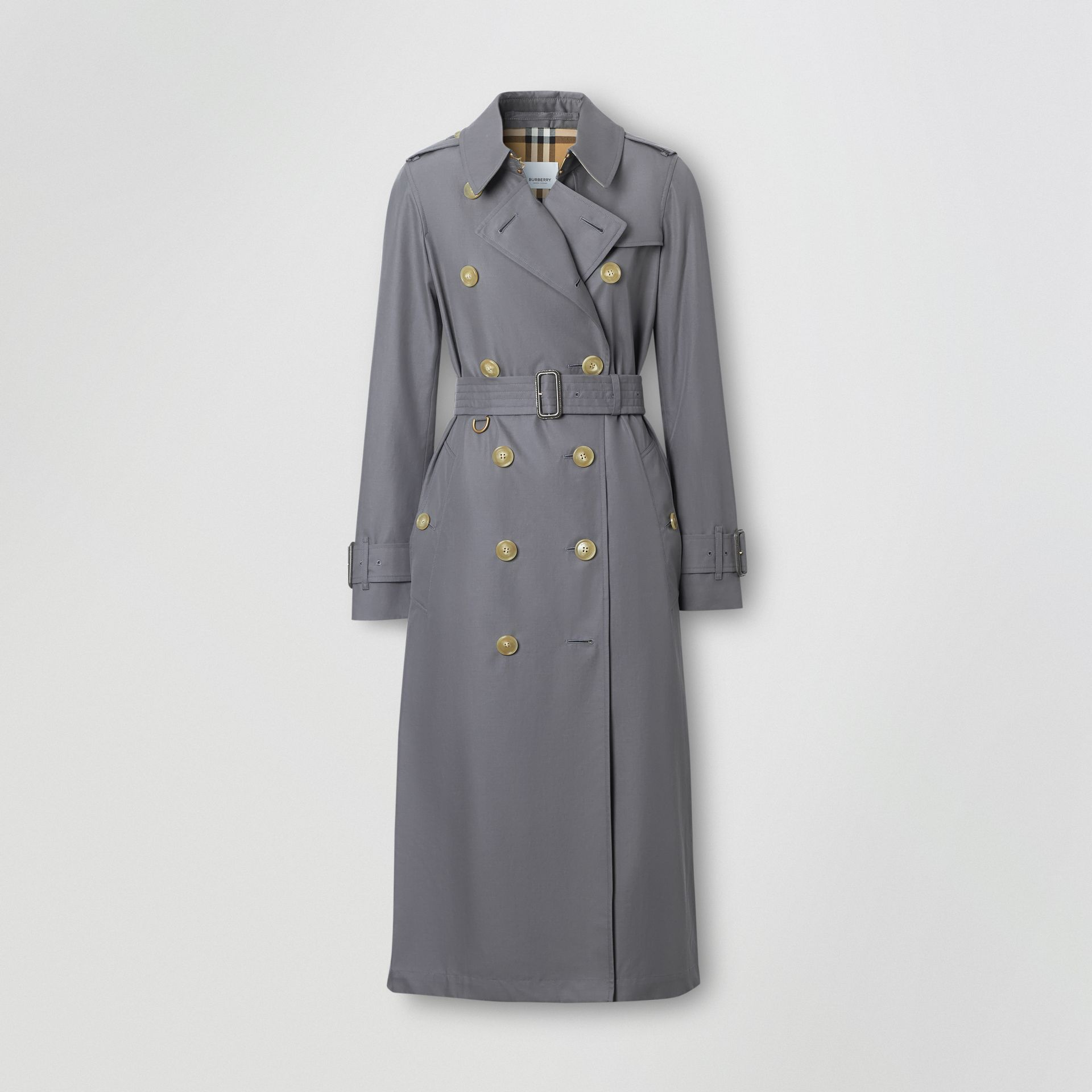 Tropical Gabardine Trench Coat in Mid Grey - Women | Burberry Singapore - gallery image 3