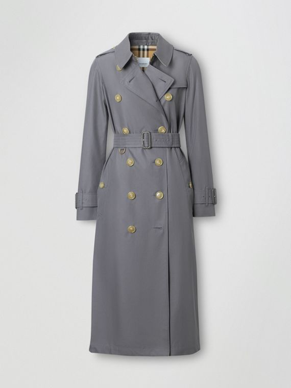 Tropical Gabardine Trench Coat in Mid Grey