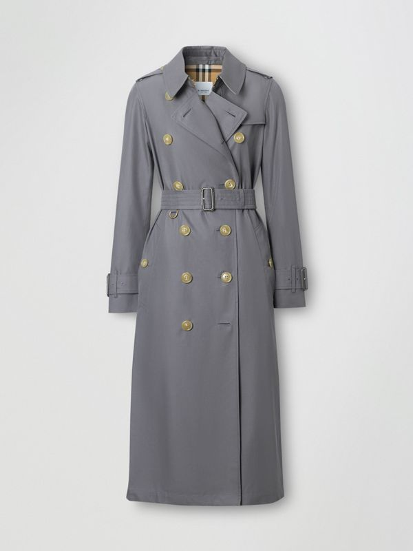 Tropical Gabardine Trench Coat in Mid Grey - Women | Burberry - cell image 3
