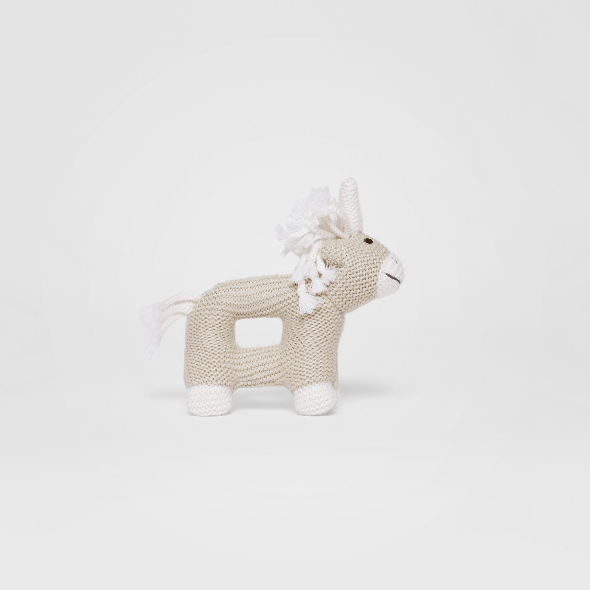 Unicorn Wool Silk Rattle in Oatmeal Melange - Children | Burberry - gallery image 2