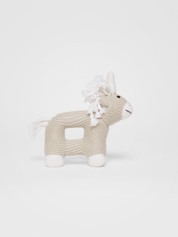 Unicorn Wool Silk Rattle in Oatmeal Melange - Children | Burberry - cell image 2