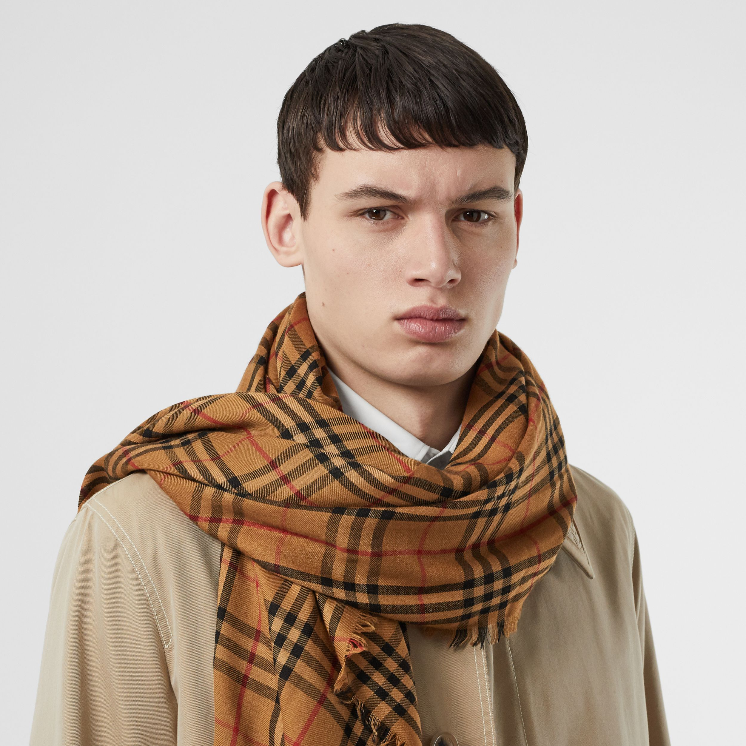 Embroidered Vintage Check Lightweight Cashmere Scarf in Overdyed Camel | Burberry - 4