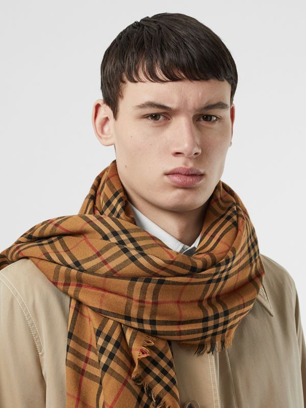 Embroidered Vintage Check Lightweight Cashmere Scarf in Camel | Burberry - cell image 3