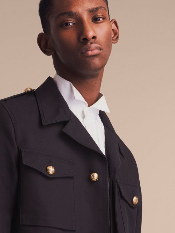 Military Detail Cotton Twill Field Jacket