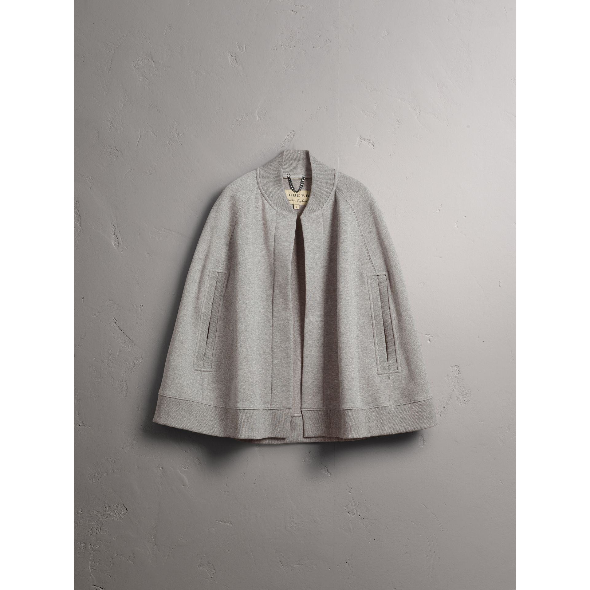 Embroidered Jersey Cape in Pale Grey Melange - Women | Burberry - gallery image 4