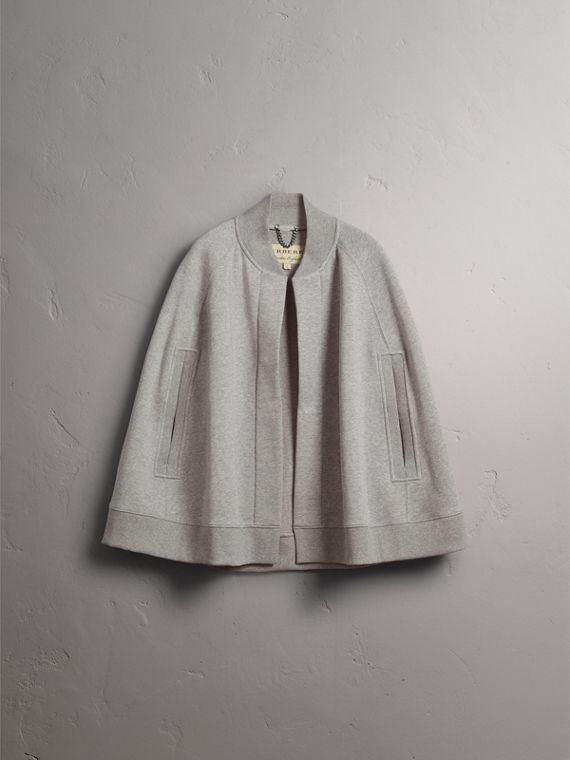 Embroidered Jersey Cape in Pale Grey Melange - Women | Burberry - cell image 3