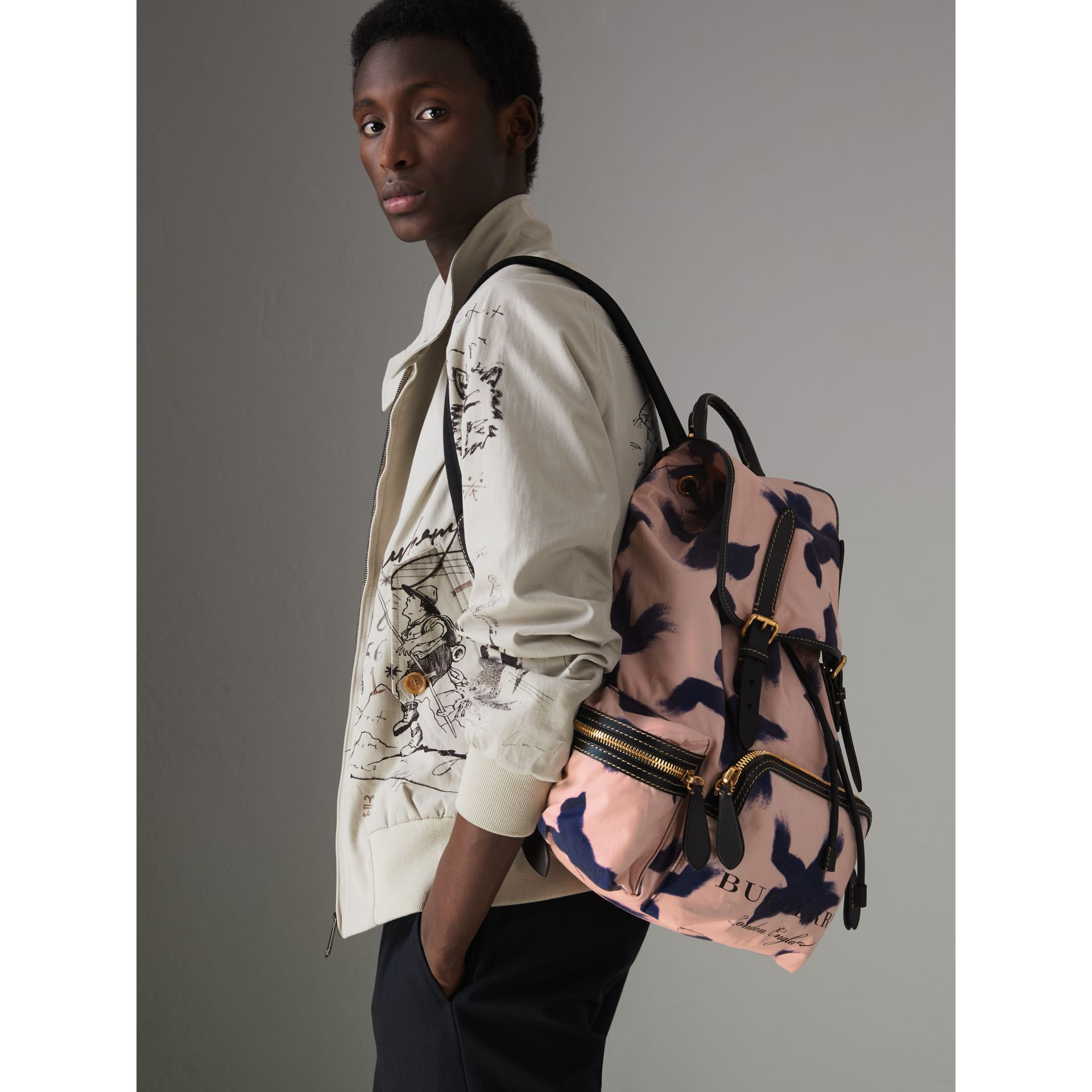 The Large Rucksack in Bird Print Canvas and Leather in Multicolour - Men | Burberry United States - gallery image 3