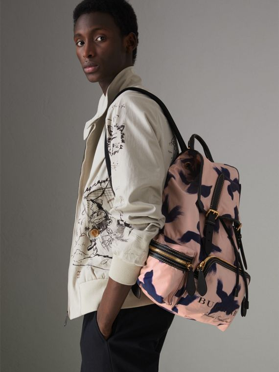 The Large Rucksack in Bird Print Canvas and Leather in Multicolour - Men | Burberry United States - cell image 3