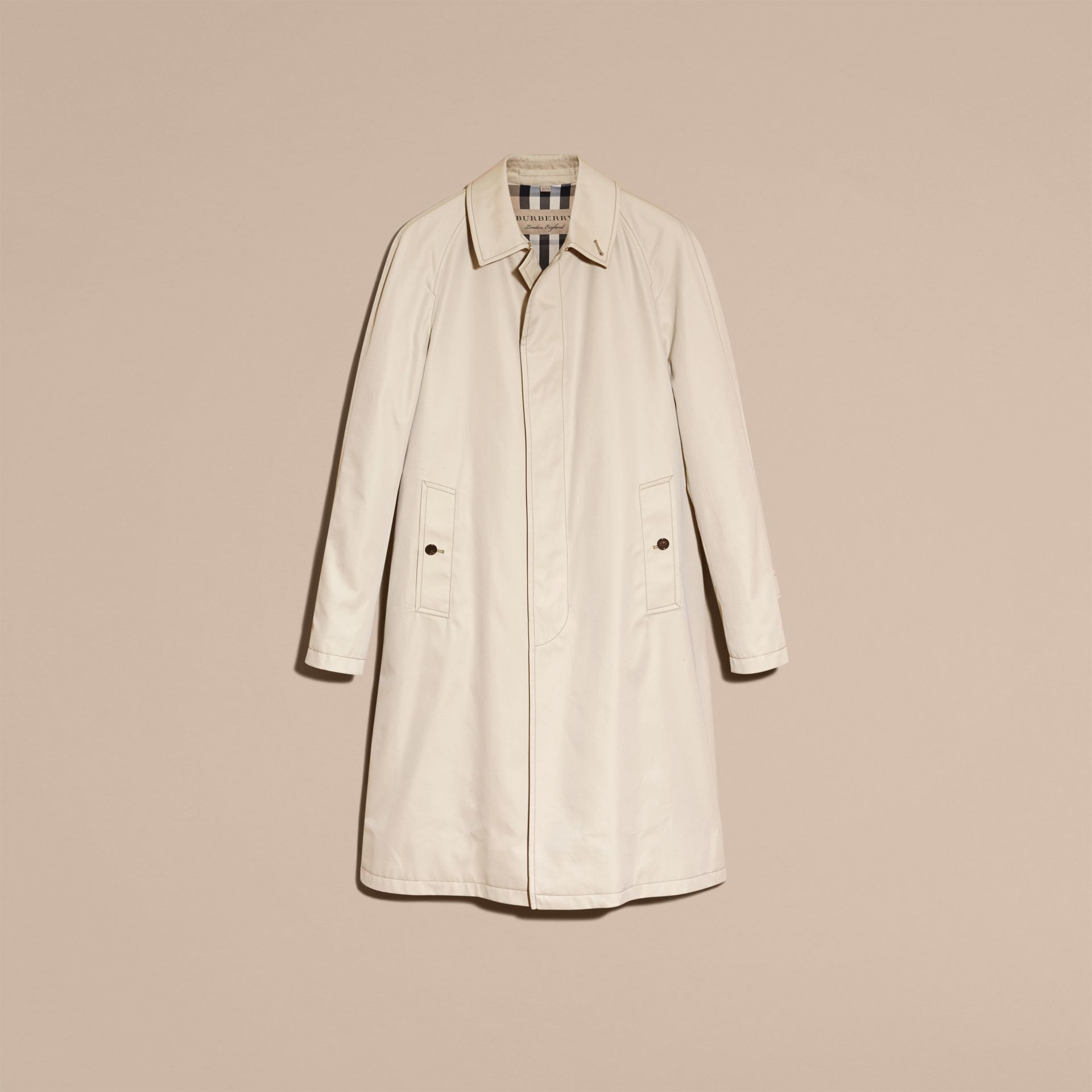 Long Cotton Gabardine Car Coat - gallery image 4