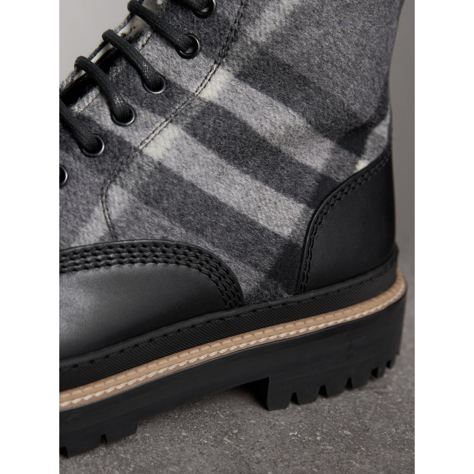 Shearling-lined Leather and Check Boots in Black - Men | Burberry Singapore - gallery image 1